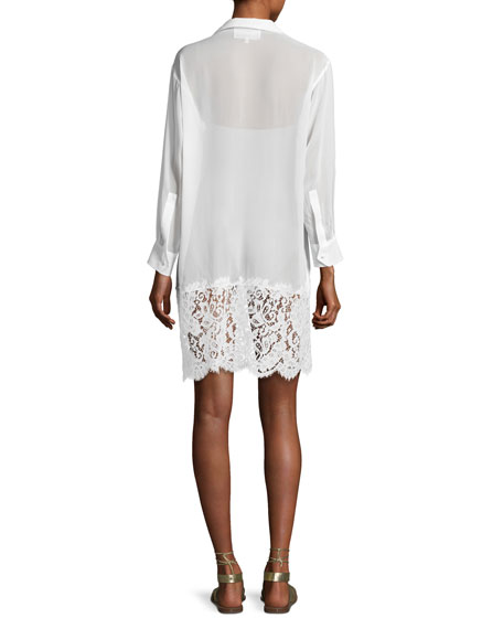 Georgette Coverup Dress w/French Lace Hem