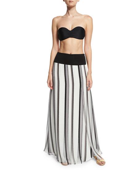 Striped Chiffon Palazzo Coverup Skirt, Silver