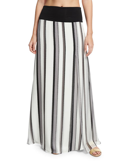 Striped Chiffon Palazzo Coverup Skirt, Silver
