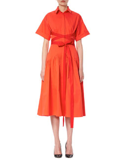 Short-Sleeve Wrap Shirtdress, Red