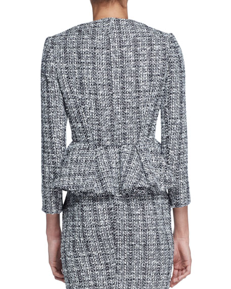 Lightweight Tweed Peplum Jacket, Black/White