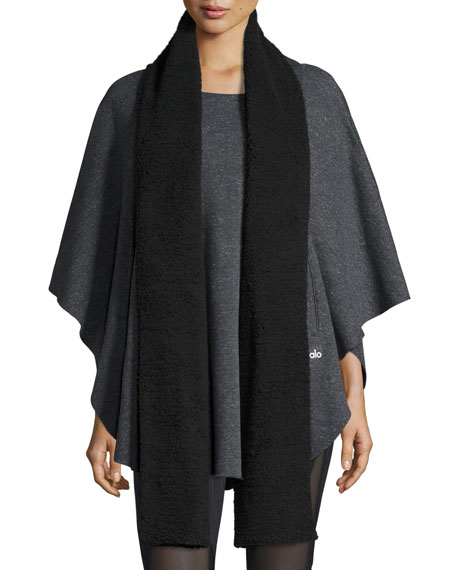 Alo Yoga Sherpa-Lined Wrap Poncho, Charcoal