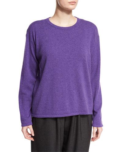 Round-Neck Cashmere Sweater, Lavender