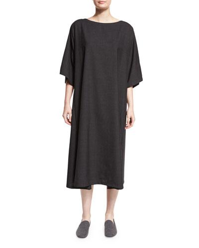 Boat-Neck T-Shirt Dress, Charcoal