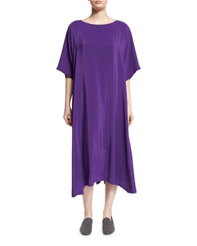 Boat-Neck Silk T-Shirt Dress, Purple