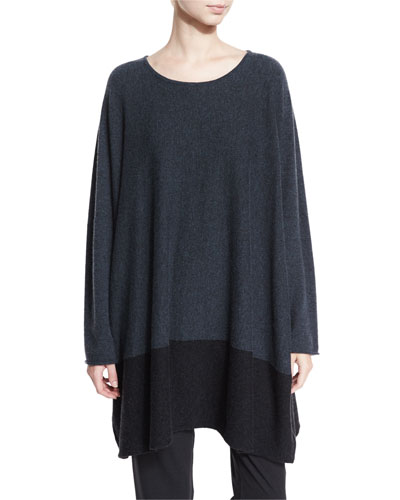 Sideways Knit Cashmere Sweater, Teal/Coal