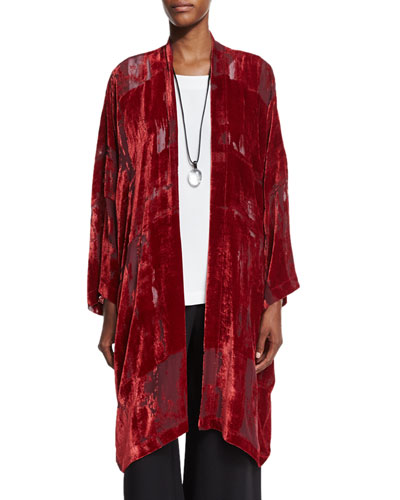Devore Velvet Open Jacket, Poppy