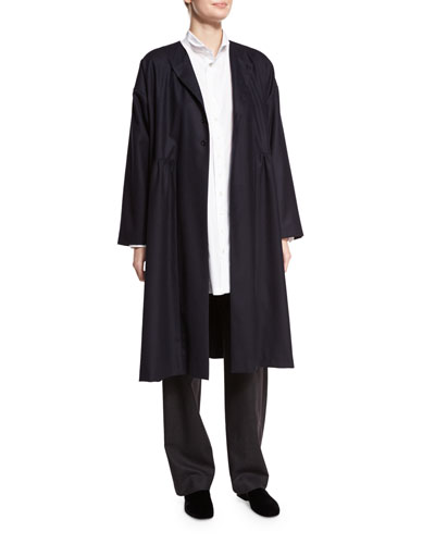 Collarless Dress Coat, Navy