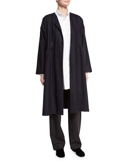 Eskandar Collarless Dress Coat, Navy