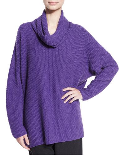 Cowl-Neck Moss-Stitch Sweater, Lavender