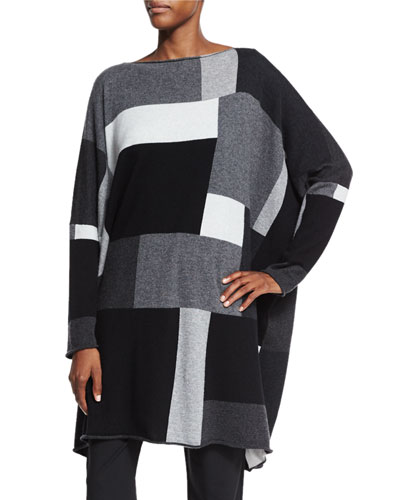 Slim Sleeve Square Intarsia Cashmere Sweater, Gray Mood