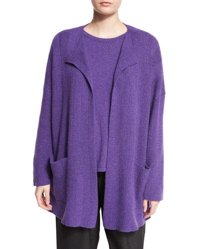 Chevron-Design Cashmere Cardigan, Lavender