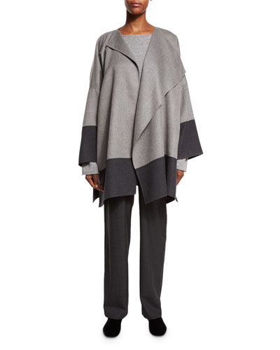 Double-Face Cashmere Jacket Coat, Stone Gray