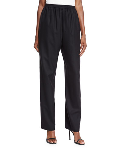 Regular Wool-Blend Trousers, Black