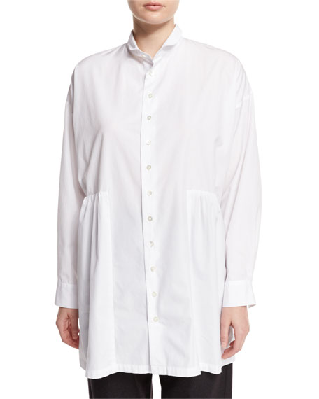 Long Double-Collar Shirt, White
