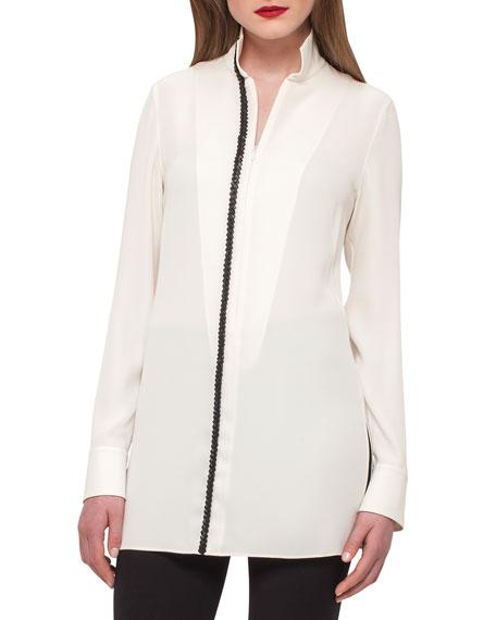 Silk Tunic w/ Braided-Leather Trim, Ivory