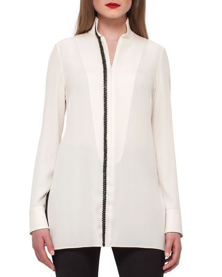 Akris Silk Tunic w/ Braided-Leather Trim, Ivory