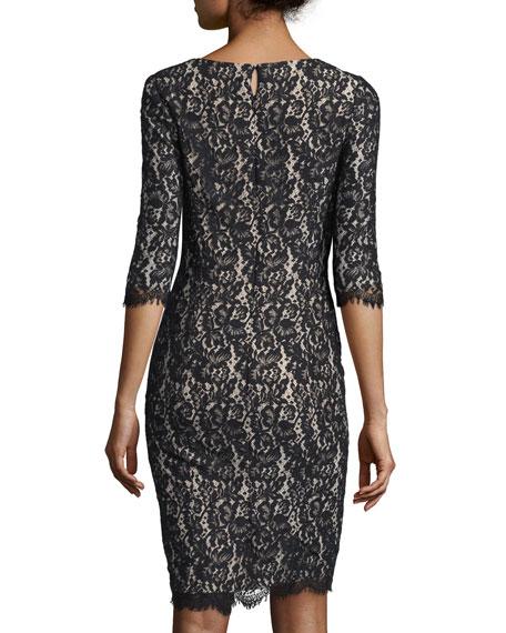 Half-Sleeve Lace Sheath Dress, Black