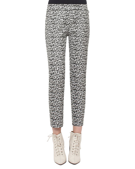 Frances Printed Ankle Pants, Black/White
