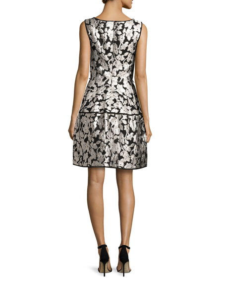 Sleeveless Floral Gazar Fil Coupe Dress, Silver/Black