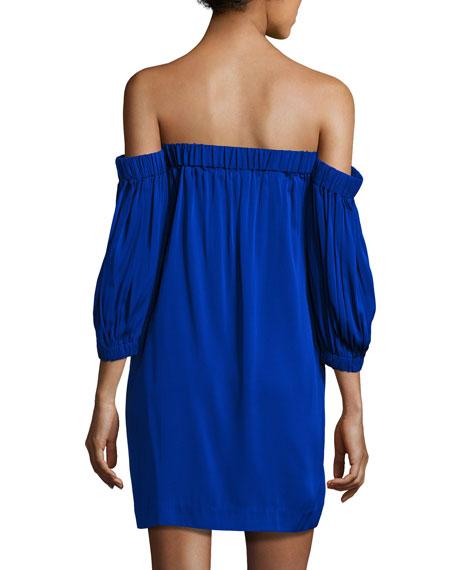Off-the-Shoulder Stretch-Silk Shift Dress, Cobalt
