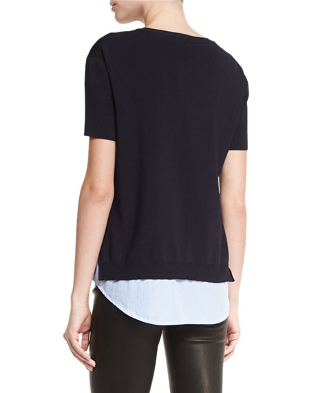 Iva Layered Short-Sleeve Sweater w/Shirt Combo