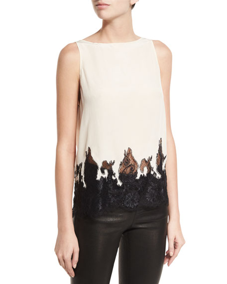Marge Draped-Back Lace-Hem Silk Top