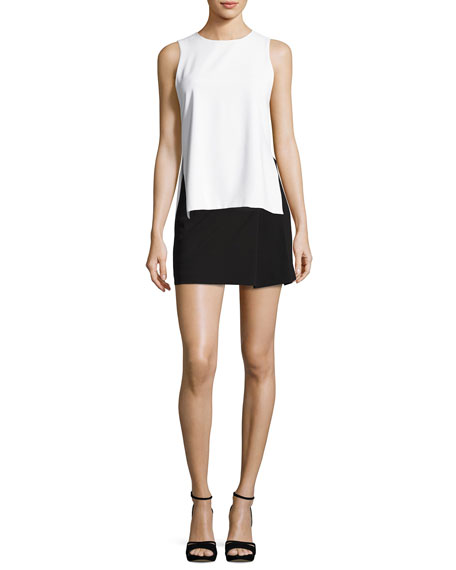 Bianka Side-Pleat Miniskirt, Black