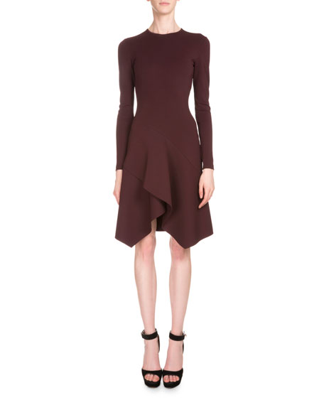 Long-Sleeve Crepe Jersey Handkerchief Dress, Burgundy