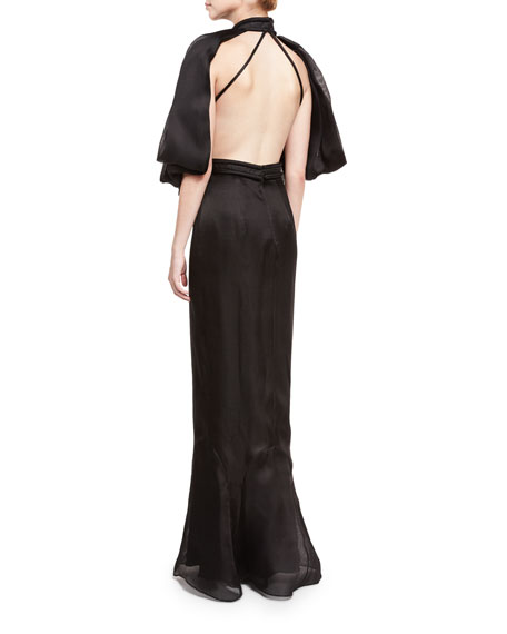Flounce-Sleeve Open-Back Silk Gown, Black