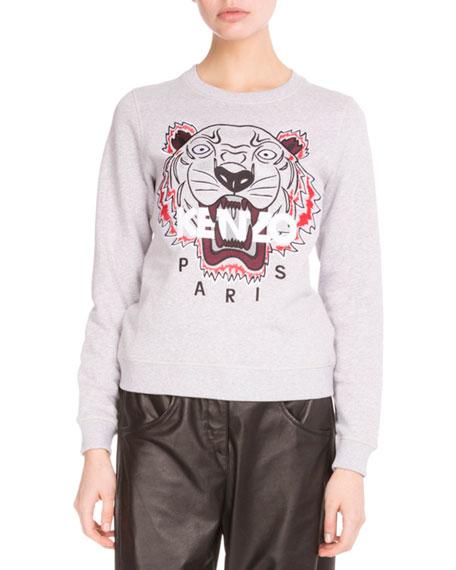 Light Brushed Cotton Tiger Sweatshirt, Light Gray