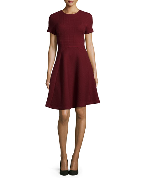 Short-Sleeve Seamed Picot-Knit Dress, Crimson