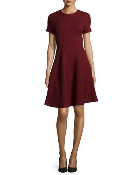 Short-Sleeve Seamed Picot-Knit Dress, Crimson