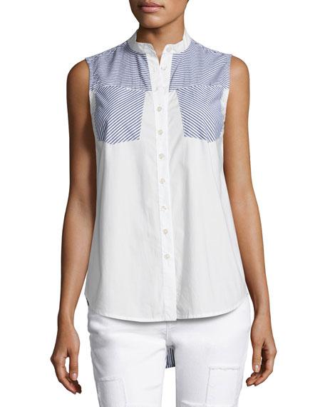 Derek Lam 10 Crosby Striped-Combo Sleeveless Shirt, Blue