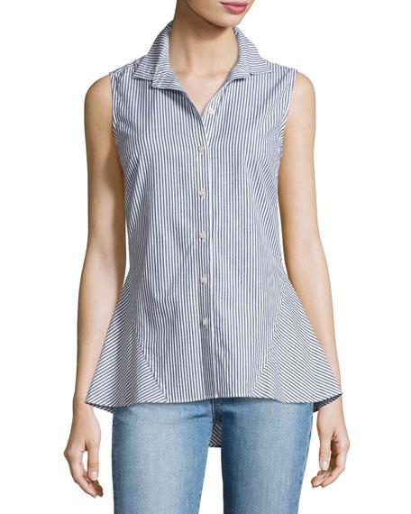 af03606ff8ac5c Derek Lam 10 Crosby Striped Sleeveless Peplum Shirt, Blue Pattern