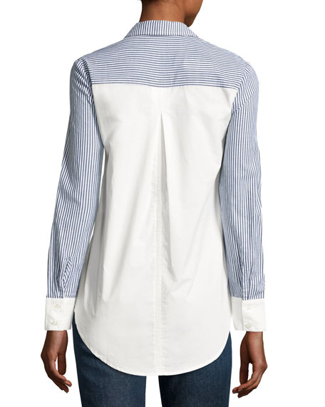 Striped & Solid Button-Down Shirt, Blue Pattern