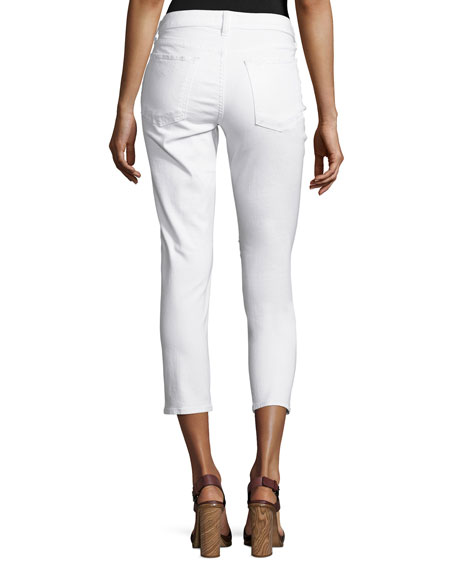 Mila Patchwork Mid-Rise Slim Girlfriend Jeans, White