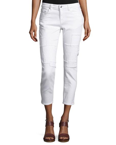 Mila Patchwork Mid-Rise Slim Girlfriend Jeans, White