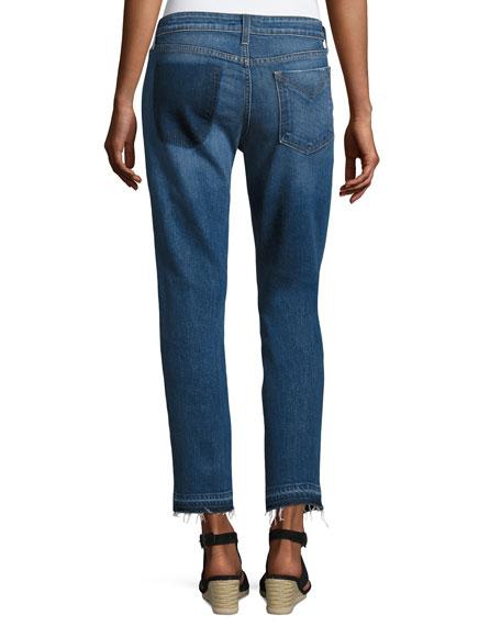 Mila Patchwork Mid-Rise Slim Boyfriend Jeans, Blue