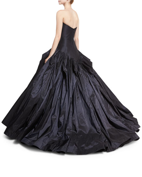 Strapless Drop-Waist Faille Ball Gown