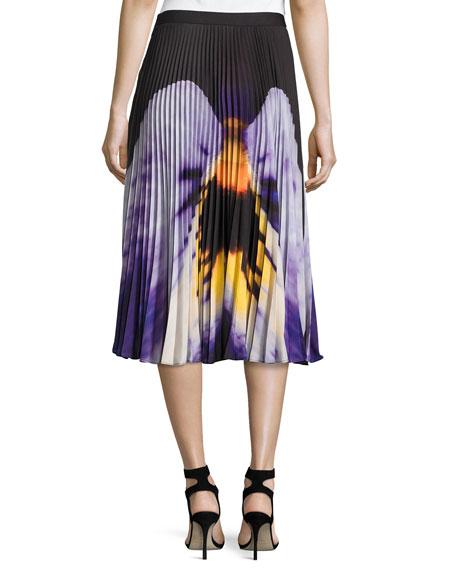 Pansy-Print Pleated Midi Skirt, Black