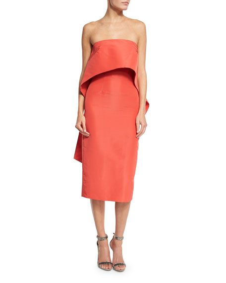 Strapless Silk Faille Trompe l'Oeil Dress, Orange