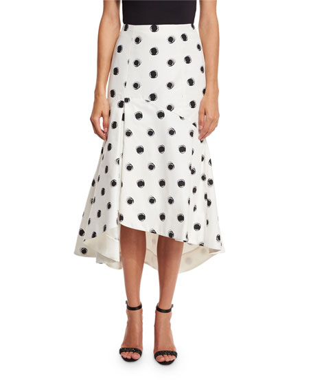 Monique Lhuillier Tea-Length Polka Dot Skirt, Black/White