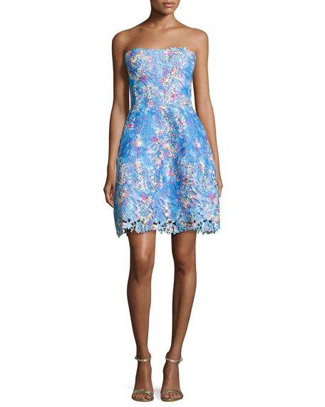 Strapless Floral Lace Cocktail Dress