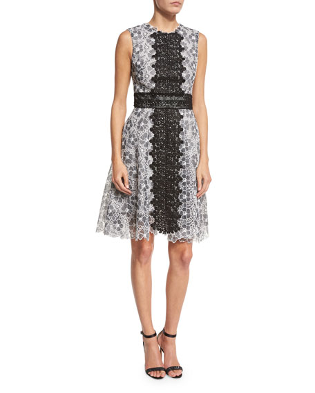 Sleeveless Two-Tone Lace Dress, Black/White