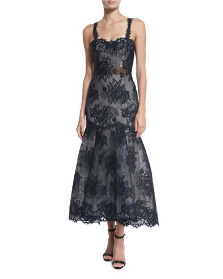 Monique Lhuillier Sleeveless Illusion Lace Trumpet Dress,