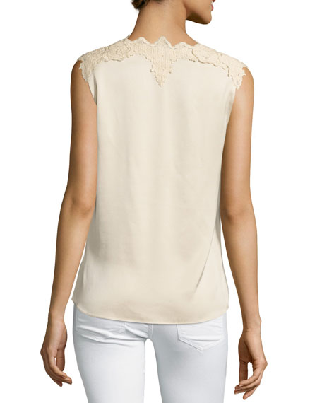 Lana Lace-Trim Stretch-Silk Blouse, Cream