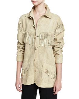 Fringed Suede Jacket, Beige