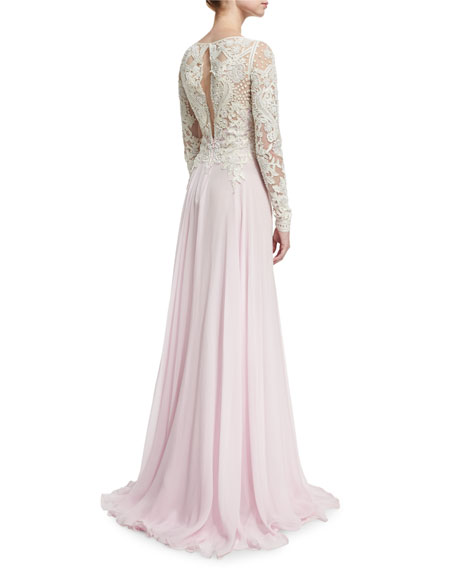 Long-Sleeve Beaded Lace & Chiffon Gown, Ivory