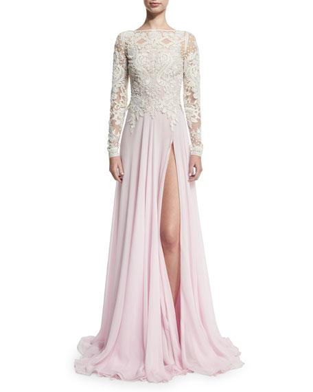82b1dc3a Naeem Khan Long-Sleeve Beaded Lace & Chiffon Gown, Ivory